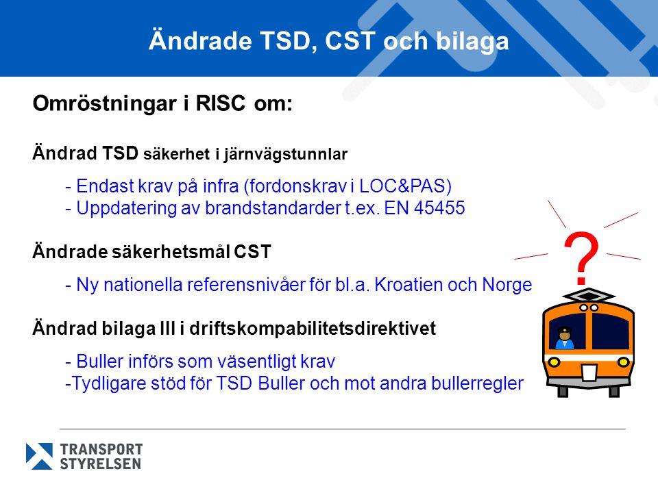 Ändrade TSD, CST och bilaga Omröstningar i RISC om: Ändrad TSD säkerhet i järnvägstunnlar - Endast krav på infra (fordonskrav i LOC&PAS) - Uppdatering av brandstandarder t.ex.