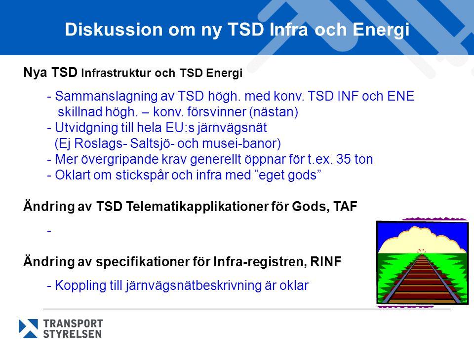 Diskussion om ny TSD Infra och Energi Nya TSD Infrastruktur och TSD Energi - Sammanslagning av TSD högh. med konv. TSD INF och ENE skillnad högh. – ko