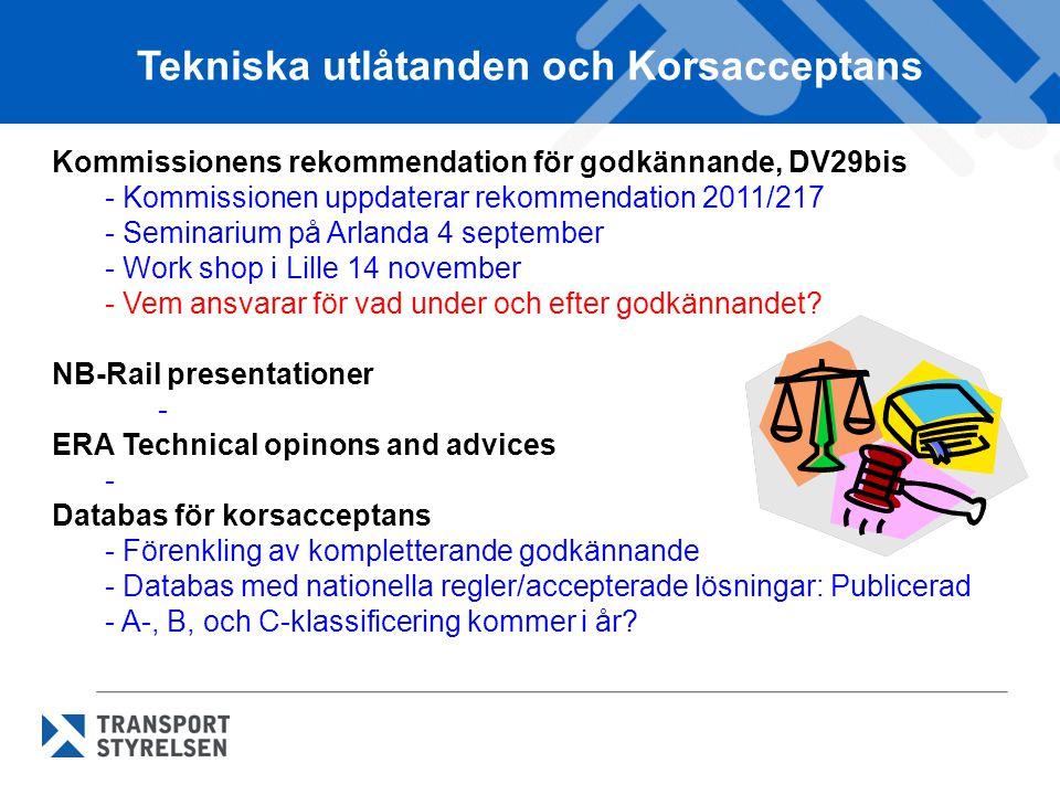 Tekniska utlåtanden och Korsacceptans Kommissionens rekommendation för godkännande, DV29bis - Kommissionen uppdaterar rekommendation 2011/217 - Seminarium på Arlanda 4 september - Work shop i Lille 14 november - Vem ansvarar för vad under och efter godkännandet.