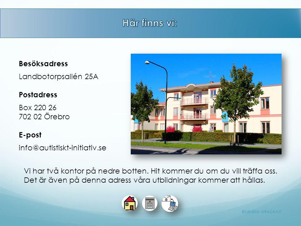 Besöksadress Landbotorpsallén 25A Postadress Box 220 26 702 02 Örebro E-post info@autistiskt-initiativ.se Vi har två kontor på nedre botten. Hit komme
