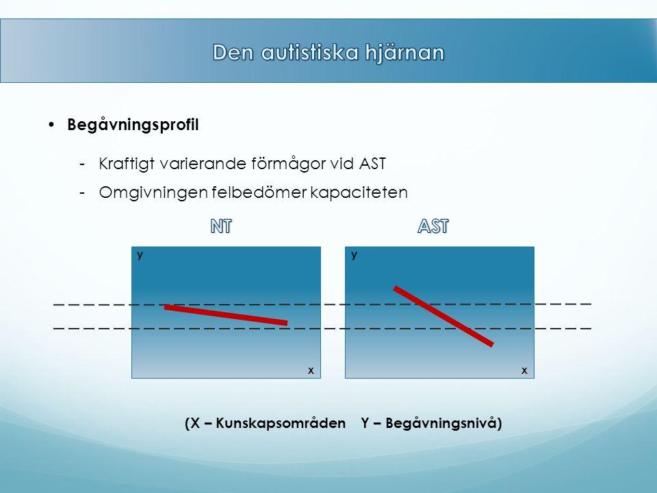 Begåvningsprofil - Kraftigt varierande förmågor vid AST - Omgivningen felbedömer kapaciteten (X – Kunskapsområden Y – Begåvningsnivå) x yy x