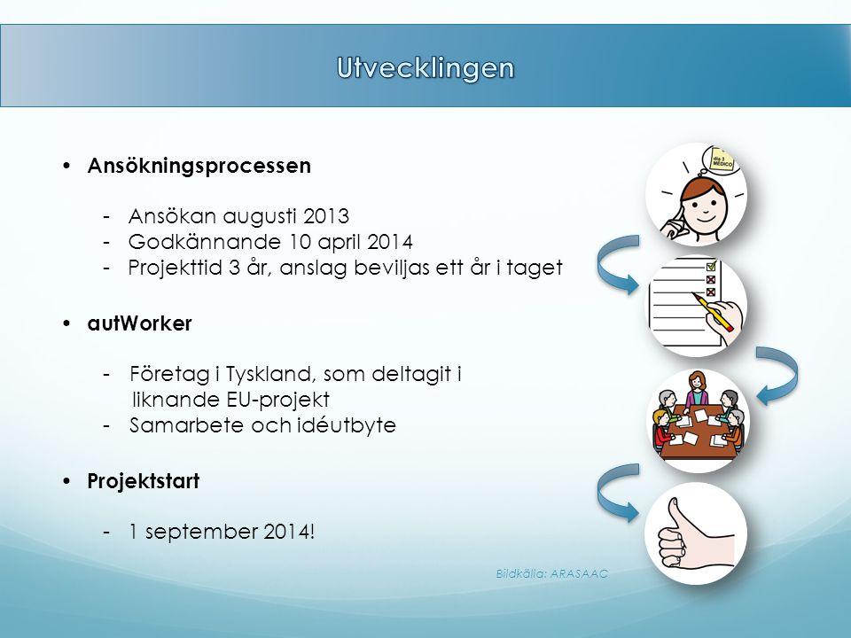 Ansökningsprocessen - Ansökan augusti 2013 - Godkännande 10 april 2014 - Projekttid 3 år, anslag beviljas ett år i taget Bildkälla: ARASAAC Projektsta