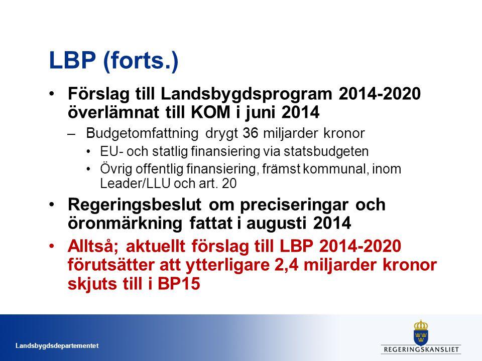 Landsbygdsdepartementet Ekologiska fokusarealer Om > 15 ha åker; 5 % EFA (kan bli 7 % 2018) Svenska val: –träda (*1), –salix (*0,3), –kvävefixerande grödor 8*0,7), –obrukad fältkant (*9), –vallinsådd (*0,3) Undantag för Norrland och skogrika områden