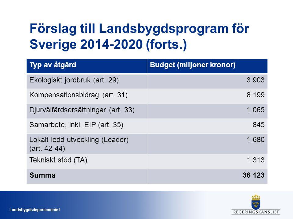 Landsbygdsdepartementet Vilka föreslås.