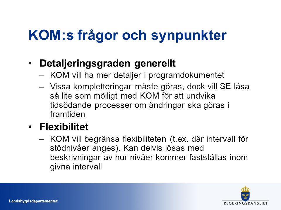 Landsbygdsdepartementet Förslag till ersättning (forts.) OBS.