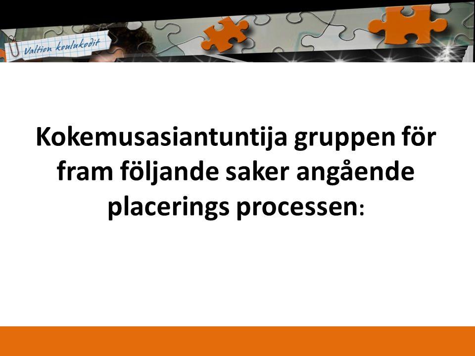 Kokemusasiantuntija gruppen för fram följande saker angående placerings processen :