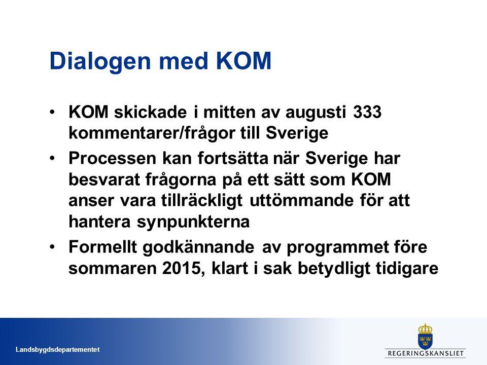Landsbygdsdepartementet Dialogen med KOM KOM skickade i mitten av augusti 333 kommentarer/frågor till Sverige Processen kan fortsätta när Sverige har besvarat frågorna på ett sätt som KOM anser vara tillräckligt uttömmande för att hantera synpunkterna Formellt godkännande av programmet före sommaren 2015, klart i sak betydligt tidigare