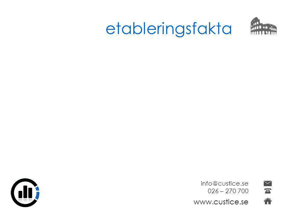 etableringsfakta info@custice.se 026 – 270 700 www.custice.se