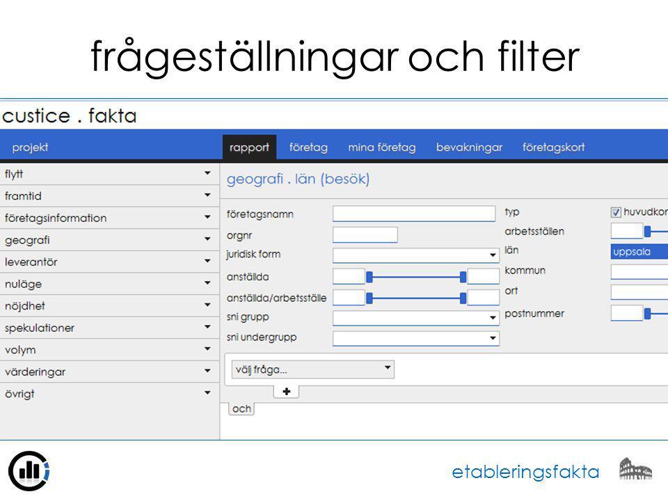 frågeställningar och filter etableringsfakta