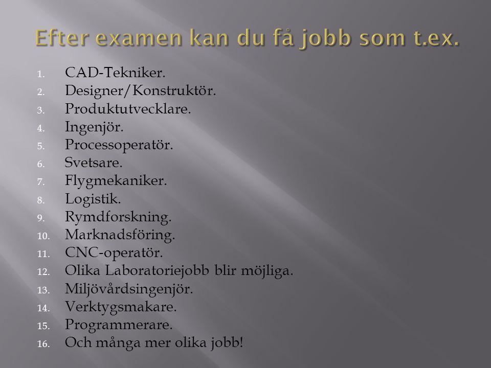 1. CAD-Tekniker. 2. Designer/Konstruktör. 3. Produktutvecklare. 4. Ingenjör. 5. Processoperatör. 6. Svetsare. 7. Flygmekaniker. 8. Logistik. 9. Rymdfo