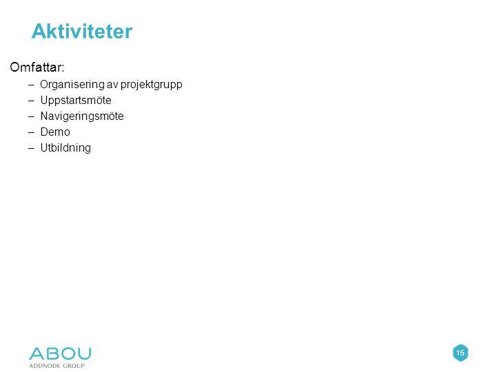 15 Aktiviteter Omfattar: –Organisering av projektgrupp –Uppstartsmöte –Navigeringsmöte –Demo –Utbildning