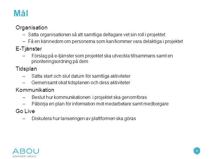 4 Kommunala resurser Regional projektgrupp Regional Styrgrupp Projektorganisation E-förvaltningsledare Dalsed E-förvaltningsledare Färgelanda E-förvaltningsledare Mellerud E-förvaltningsledare Åmål Beställare PL Kund E-förvaltningsledare Bengtsfors PL Abou (Mattias Hellblom) Utvecklare (Rikard Gynnerstedt) Applikationsk onsult Testare (Åsa Davidsson) Kommunikation KAM Abou (Linda Wolrath)