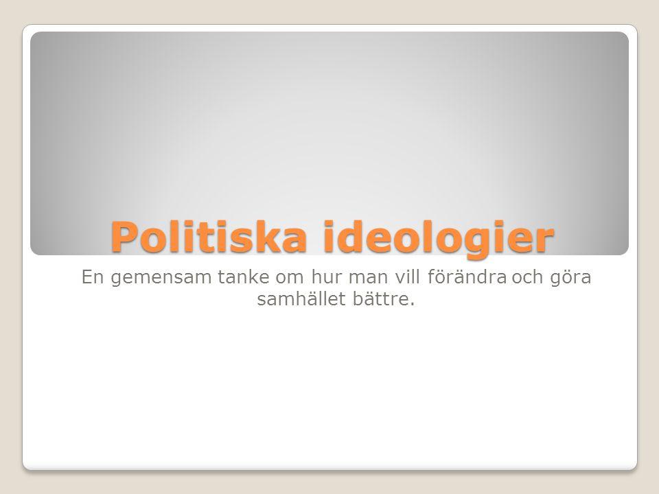 Politiska ideologier En gemensam tanke om hur man vill förändra och göra samhället bättre.