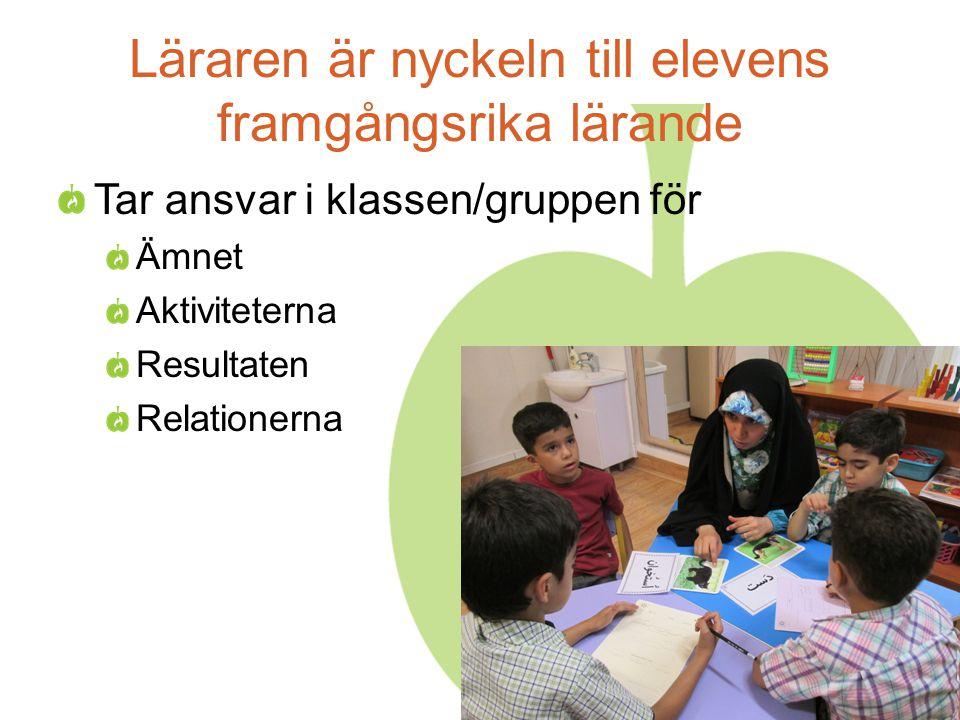Läraren är nyckeln till elevens framgångsrika lärande Tar ansvar i klassen/gruppen för Ämnet Aktiviteterna Resultaten Relationerna