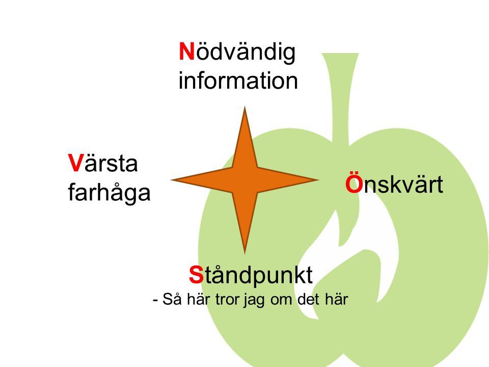 Nödvändig information Önskvärt Värsta farhåga Ståndpunkt - Så här tror jag om det här
