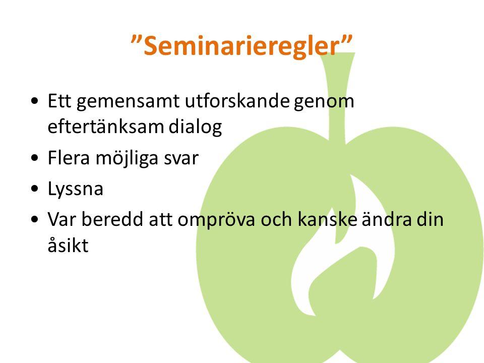 Seminarieregler Ett gemensamt utforskande genom eftertänksam dialog Flera möjliga svar Lyssna Var beredd att ompröva och kanske ändra din åsikt