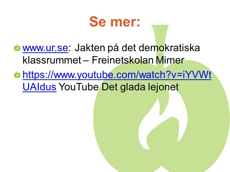 Se mer: www.ur.sewww.ur.se: Jakten på det demokratiska klassrummet – Freinetskolan Mimer https://www.youtube.com/watch?v=iYVWt UAIdushttps://www.youtube.com/watch?v=iYVWt UAIdus YouTube Det glada lejonet