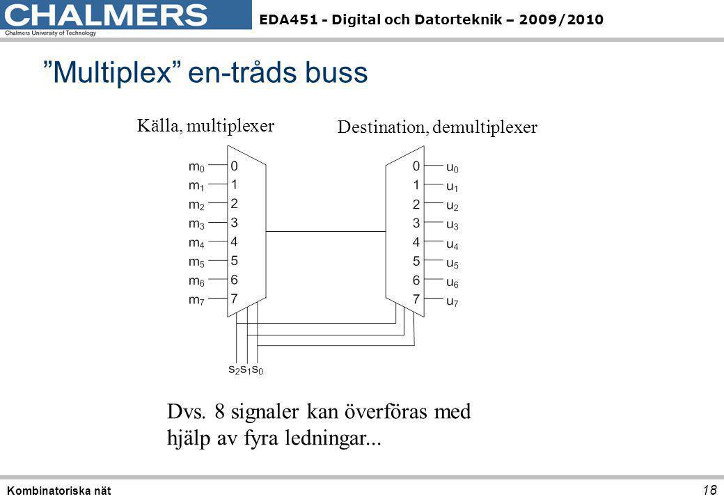 """EDA451 - Digital och Datorteknik – 2009/2010 """"Multiplex"""" en-tråds buss 18 Kombinatoriska nät Källa, multiplexer Destination, demultiplexer Dvs. 8 sign"""