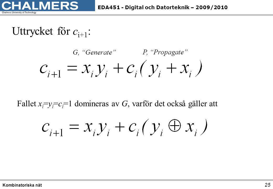 """EDA451 - Digital och Datorteknik – 2009/2010 25 Kombinatoriska nät Uttrycket för c i+1 : G, """"Generate"""" P, """"Propagate"""" Fallet x i =y i =c i =1 dominera"""