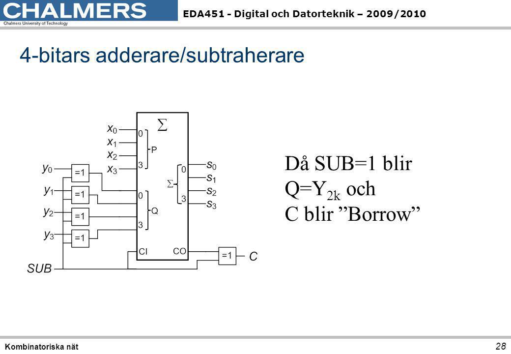 """EDA451 - Digital och Datorteknik – 2009/2010 28 Kombinatoriska nät 4-bitars adderare/subtraherare Då SUB=1 blir Q=Y 2k och C blir """"Borrow"""""""