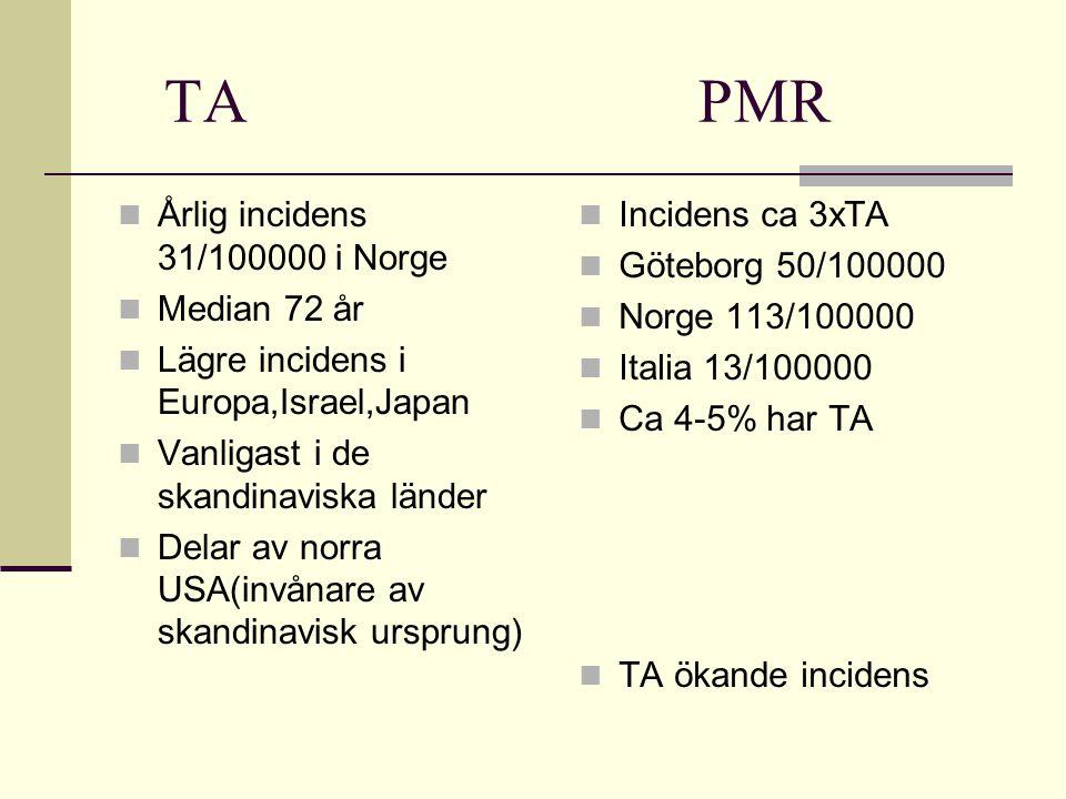 TA PMR Årlig incidens 31/100000 i Norge Median 72 år Lägre incidens i Europa,Israel,Japan Vanligast i de skandinaviska länder Delar av norra USA(invånare av skandinavisk ursprung) Incidens ca 3xTA Göteborg 50/100000 Norge 113/100000 Italia 13/100000 Ca 4-5% har TA TA ökande incidens