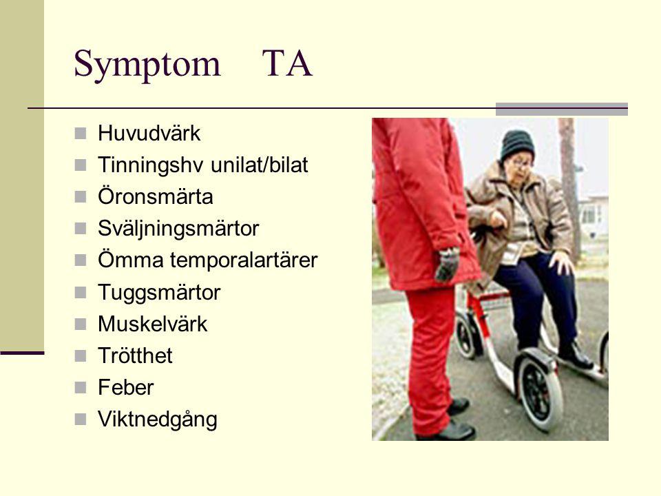 Symptom TA Huvudvärk Tinningshv unilat/bilat Öronsmärta Sväljningsmärtor Ömma temporalartärer Tuggsmärtor Muskelvärk Trötthet Feber Viktnedgång