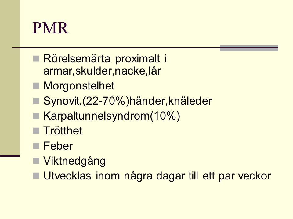 PMR Rörelsemärta proximalt i armar,skulder,nacke,lår Morgonstelhet Synovit,(22-70%)händer,knäleder Karpaltunnelsyndrom(10%) Trötthet Feber Viktnedgång Utvecklas inom några dagar till ett par veckor