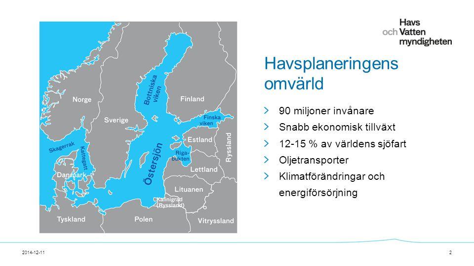 För att ändra/uppdatera/ta bort Presentationsnamn och Namn i foten, gå in på Infoga - Sidhuvud/sidfot Havsplaneringens omvärld 2014-12-112 90 miljoner invånare Snabb ekonomisk tillväxt 12-15 % av världens sjöfart Oljetransporter Klimatförändringar och energiförsörjning