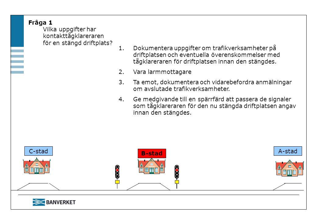Fråga 1 Vilka uppgifter har kontakttågklareraren för en stängd driftplats? 1.Dokumentera uppgifter om trafikverksamheter på driftplatsen och eventuell