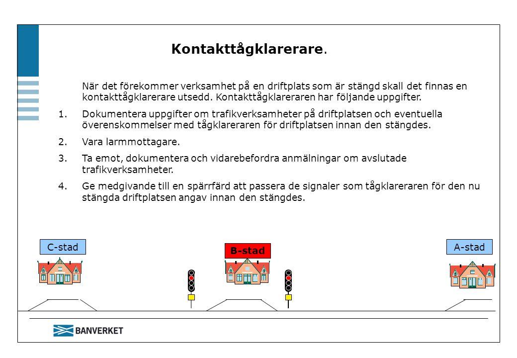 C-stadA-stad Kontakttågklarerare. När det förekommer verksamhet på en driftplats som är stängd skall det finnas en kontakttågklarerare utsedd. Kontakt