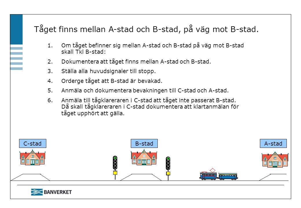 C-stadB-stadA-stad Tåget finns i B-stad 1.Om tåget finns i B-stad skall man.