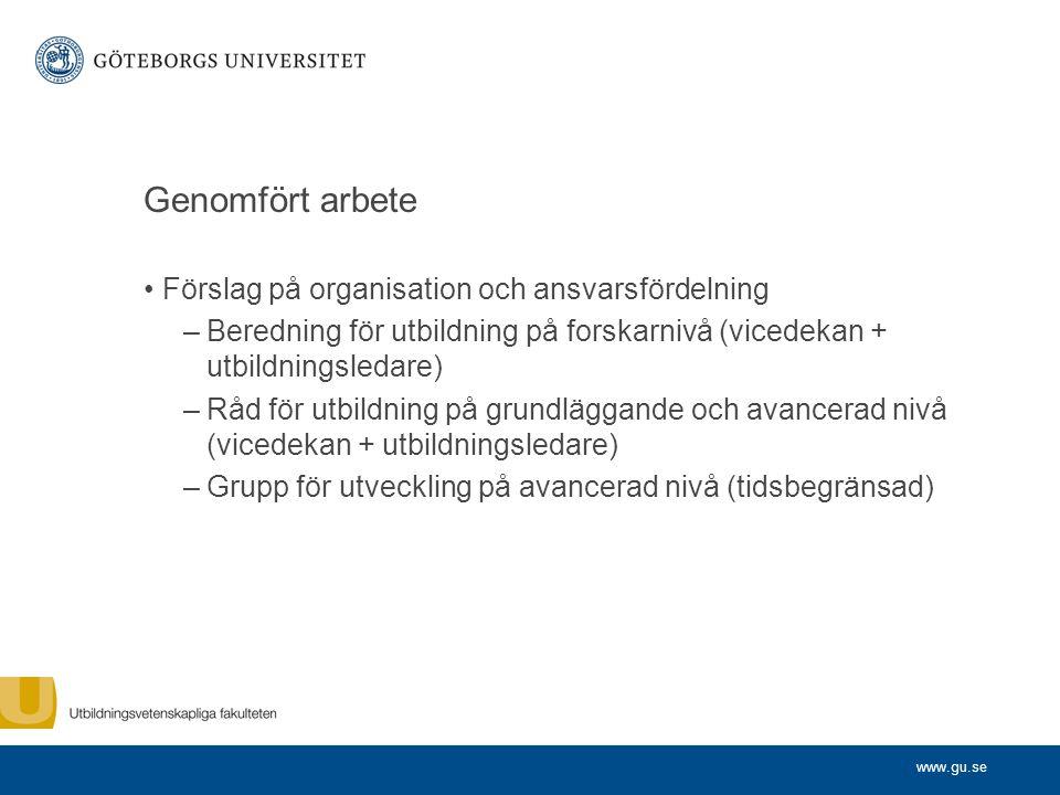 www.gu.se Genomfört arbete Förslag på organisation och ansvarsfördelning –Beredning för utbildning på forskarnivå (vicedekan + utbildningsledare) –Råd
