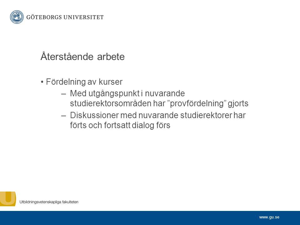 """www.gu.se Återstående arbete Fördelning av kurser –Med utgångspunkt i nuvarande studierektorsområden har """"provfördelning"""" gjorts –Diskussioner med nuv"""