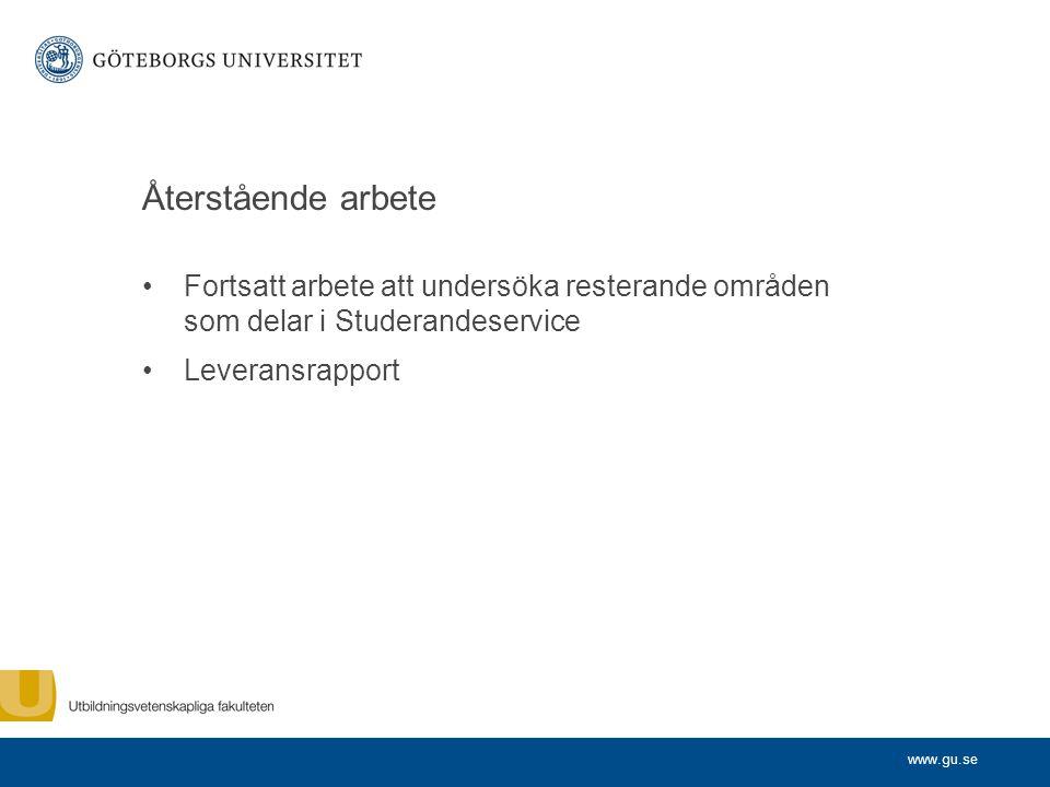 www.gu.se Återstående arbete Fortsatt arbete att undersöka resterande områden som delar i Studerandeservice Leveransrapport