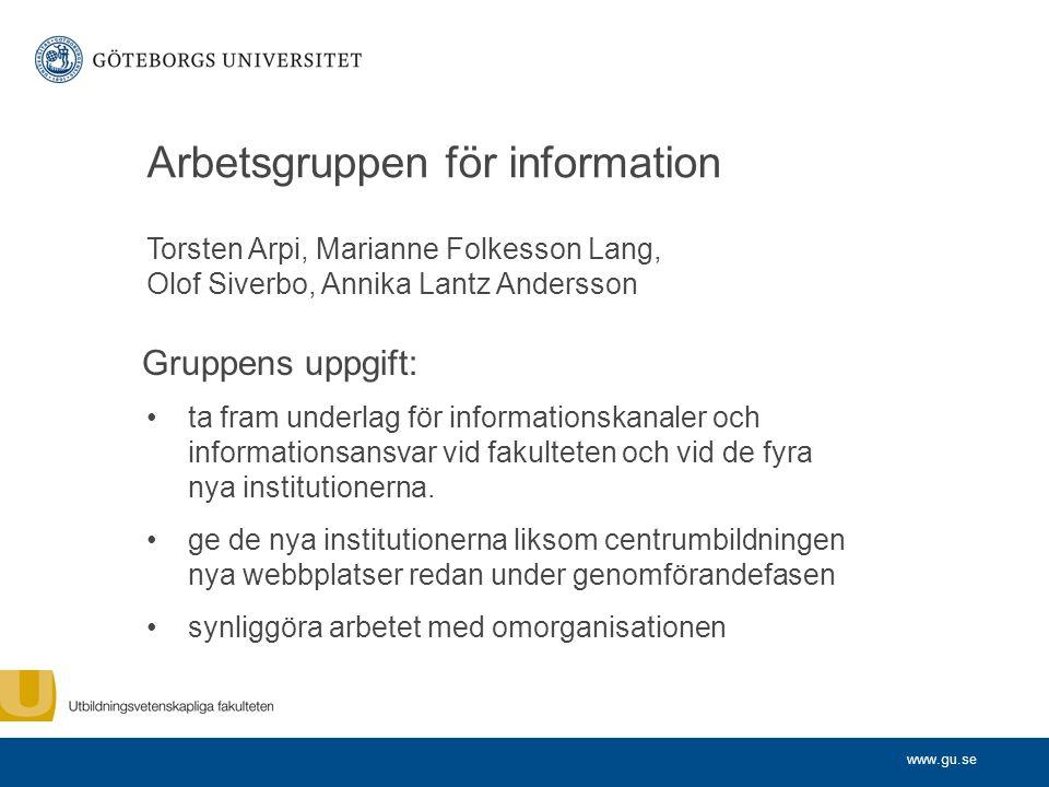 www.gu.se Arbetsgruppen för information Torsten Arpi, Marianne Folkesson Lang, Olof Siverbo, Annika Lantz Andersson ta fram underlag för informationsk