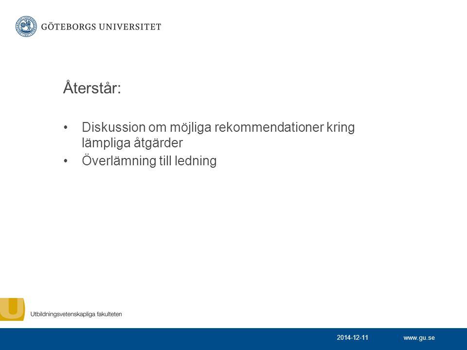 www.gu.se Återstår: Diskussion om möjliga rekommendationer kring lämpliga åtgärder Överlämning till ledning 2014-12-11