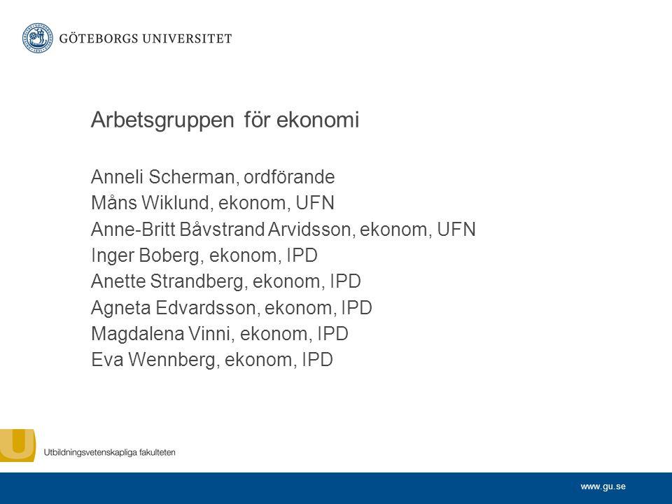 www.gu.se Arbetsgruppen för ekonomi Anneli Scherman, ordförande Måns Wiklund, ekonom, UFN Anne-Britt Båvstrand Arvidsson, ekonom, UFN Inger Boberg, ek