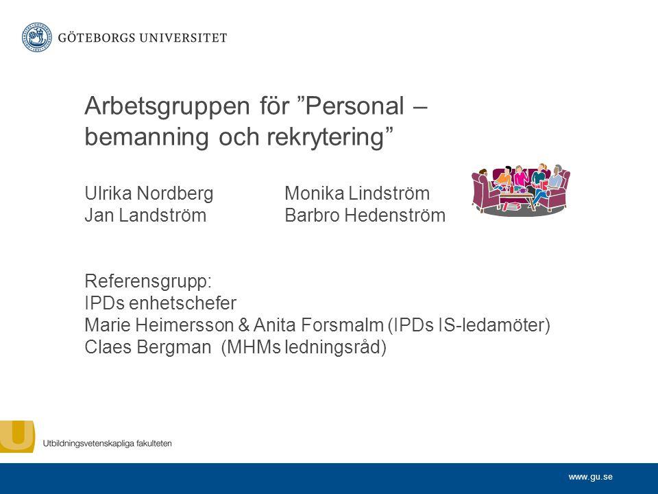 "www.gu.se Arbetsgruppen f ö r "" Personal – bemanning och rekrytering "" Ulrika NordbergMonika Lindström Jan LandströmBarbro Hedenström Referensgrupp: I"