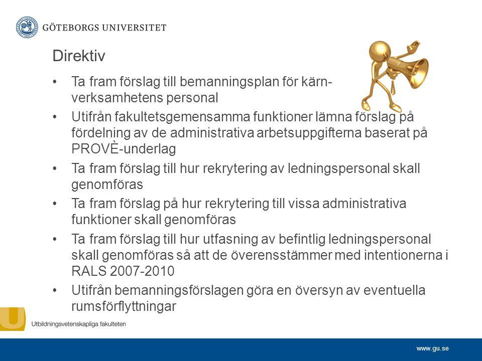 www.gu.se Direktiv Ta fram förslag till bemanningsplan för kärn- verksamhetens personal Utifrån fakultetsgemensamma funktioner lämna förslag på fördel