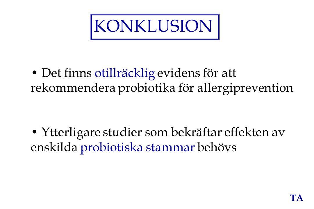 TA KONKLUSION Det finns otillräcklig evidens för att rekommendera probiotika för allergiprevention Ytterligare studier som bekräftar effekten av enski