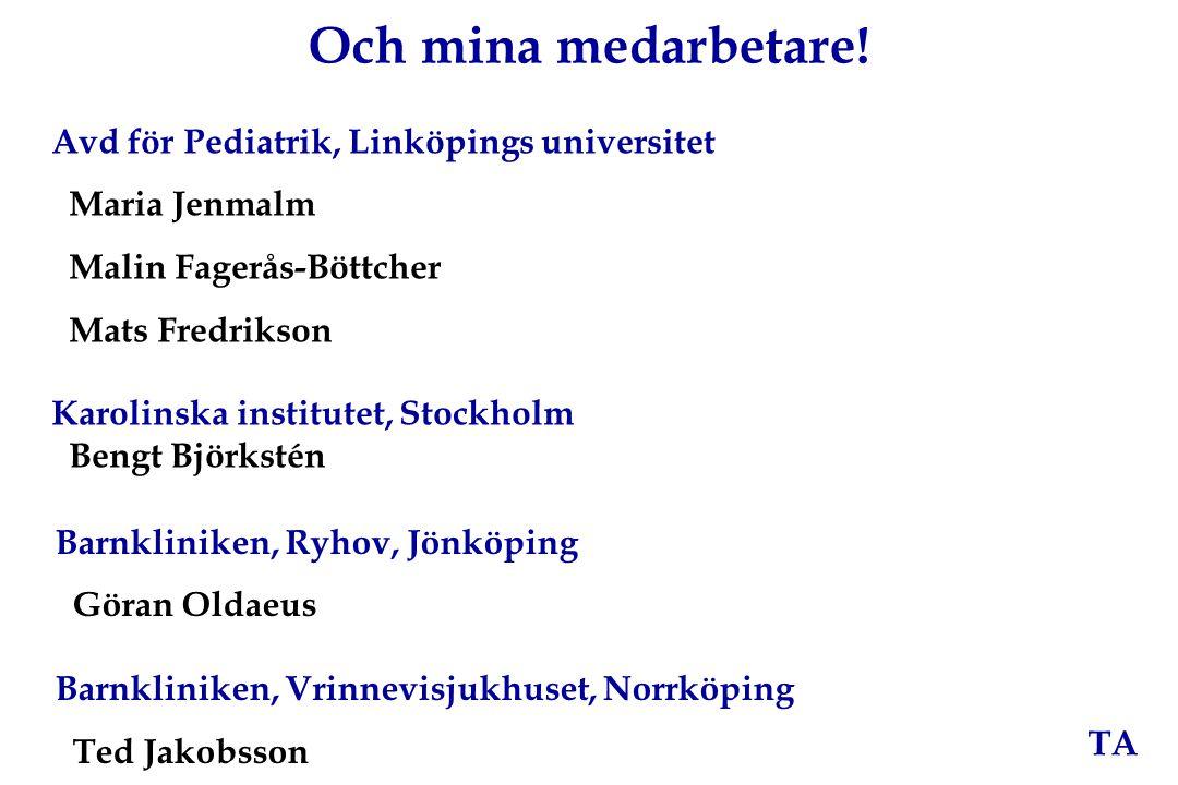 TA Och mina medarbetare! Avd för Pediatrik, Linköpings universitet Maria Jenmalm Malin Fagerås-Böttcher Mats Fredrikson Karolinska institutet, Stockho