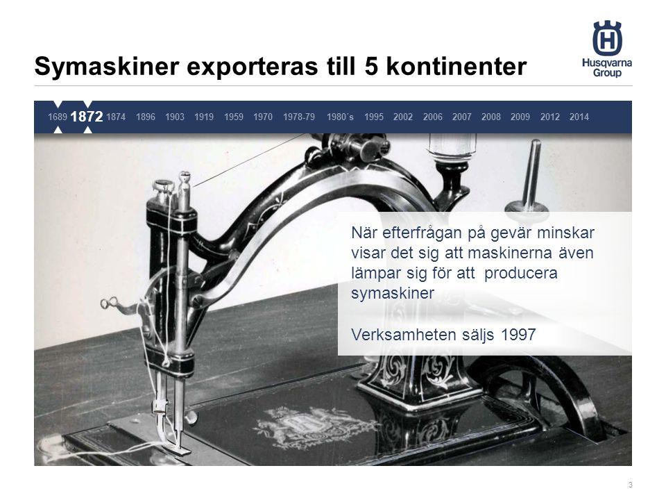Största gjuteriet i Skandinavien 4 Utöver gevär och symaskiner produceras också köksutrustning i gjutjärn, som kastruller, spisar och ugnar Köttkvarnen var en stor succé – vi exporterar mer än 12 miljoner köttkvarnar 1689187218741896190319191959 1874 19701978-791980´s1995200220062007200820092014 2012 Pause 3 sekunder, ta inte bort denna