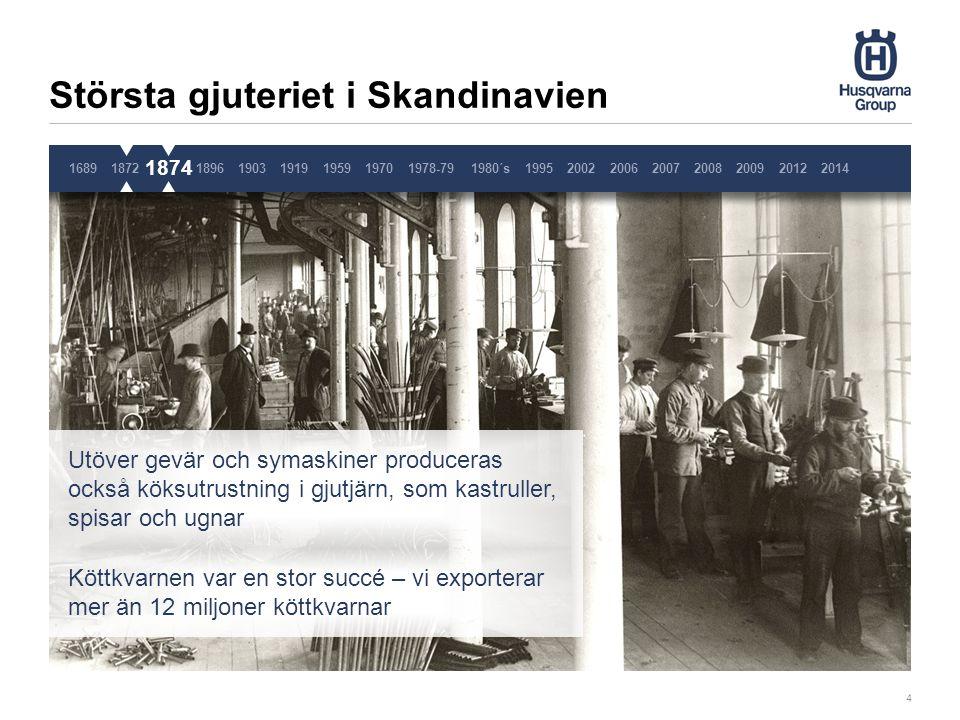 Sveriges första stora cykelfabrik 5 1689187218741896190319191959 1896 Husqvarnas cyklar blir populära tack vare sin höga kvalitet Sista cykeln produceras 1962 Flera patent registreras 19701978-791980´s1995200220062007200820092014 2012 Pause 3 sekunder, ta inte bort denna