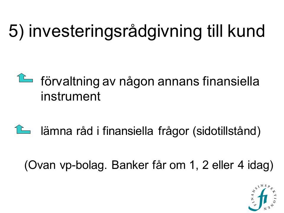 5) investeringsrådgivning till kund förvaltning av någon annans finansiella instrument lämna råd i finansiella frågor (sidotillstånd) (Ovan vp-bolag.