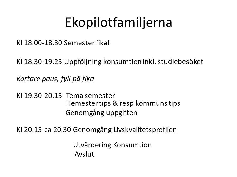 Kl 18.00-18.30 Semester fika. Kl 18.30-19.25 Uppföljning konsumtion inkl.