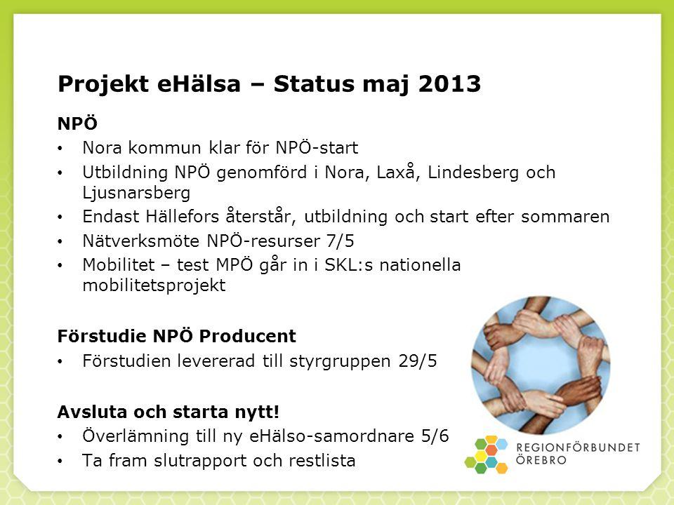 Projekt eHälsa – Förstudie NPÖ Producent Innehåll 1.Bakgrund 2.Genomförandeprojekt – aktiviteter vid införande 3.Förslag till informationsmängder 4.Hinder och möjligheter 5.Nästa steg 6.Frågor /synpunkter /kompletteringar?