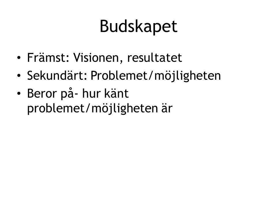 Budskapet Främst: Visionen, resultatet Sekundärt: Problemet/möjligheten Beror på- hur känt problemet/möjligheten är