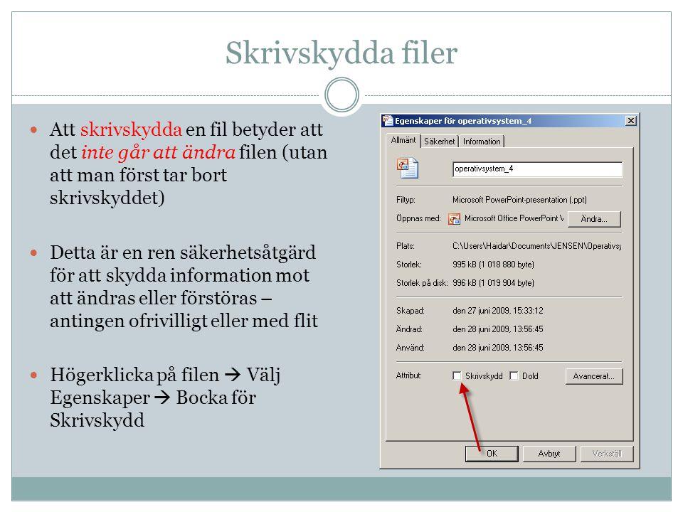Skrivskydda filer Att skrivskydda en fil betyder att det inte går att ändra filen (utan att man först tar bort skrivskyddet) Detta är en ren säkerhets