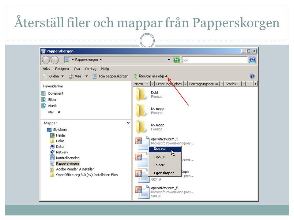 Återställ filer och mappar från Papperskorgen