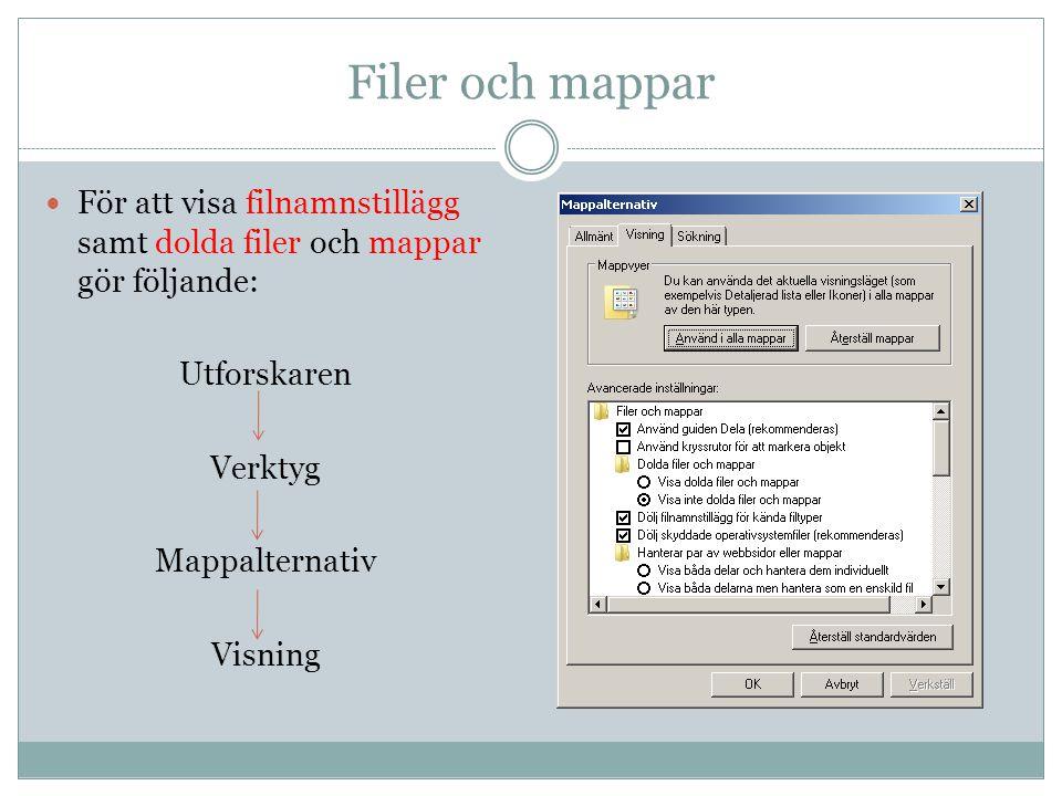 Filer och mappar För att visa filnamnstillägg samt dolda filer och mappar gör följande: Utforskaren Verktyg Mappalternativ Visning
